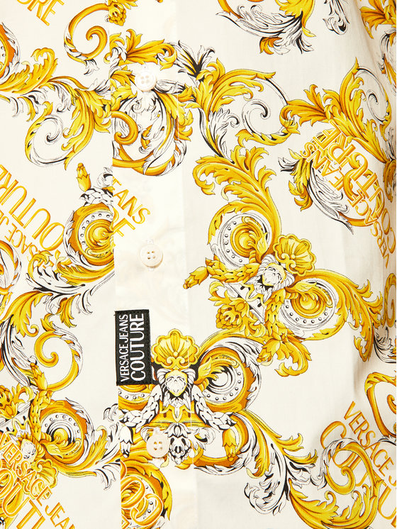 White and Gold Baroque Print Button Up