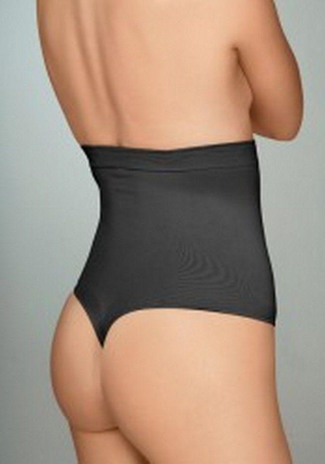 Plie Control Shaping Thong High Waist Firm Support, Black
