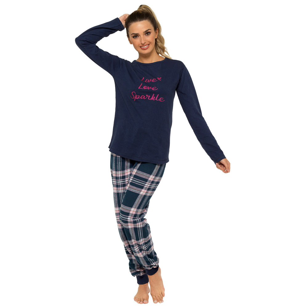 Ladies Check Slogan Printed Pyjama Set With Gift Bag, Blue