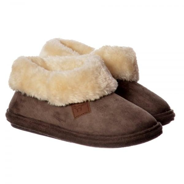 Ladies Slippers by Bras and Honey Chiltern Faux Fur Bootie Slippers, Brown