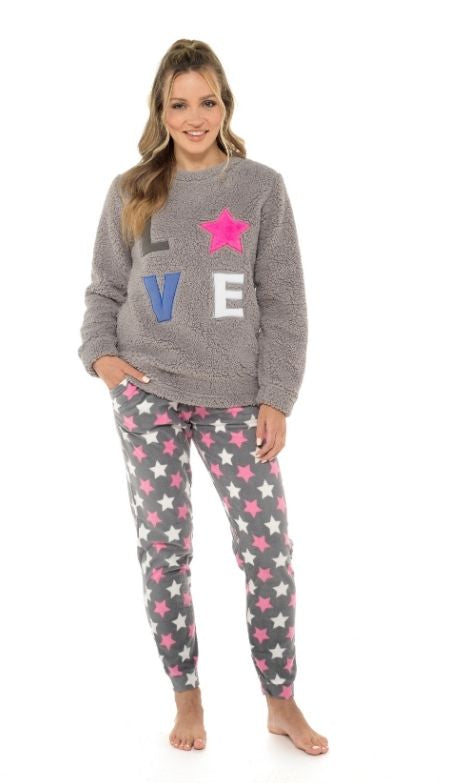 Ladies Sherpa Top with Applique and Printed Fleece Cuffed Bottoms Pyjama Set