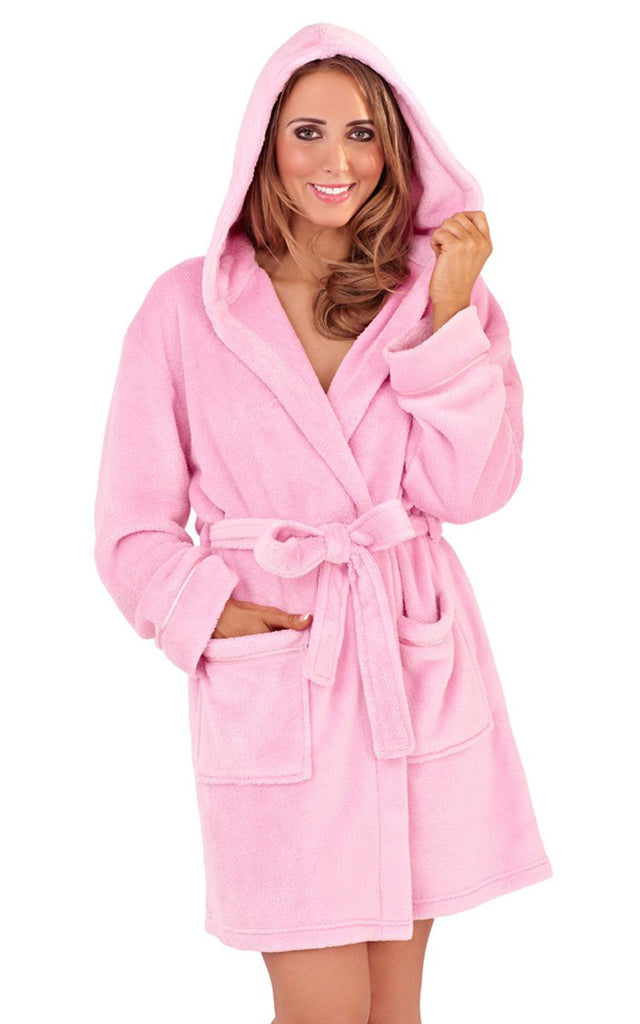 Soft Hooded Short Bathrobe, Soft Pink