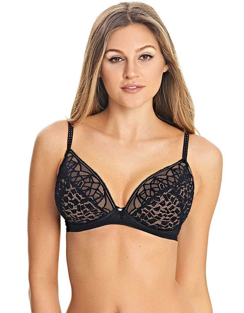 Freya Soiree Lace Black Padded Plunge Bra, Black