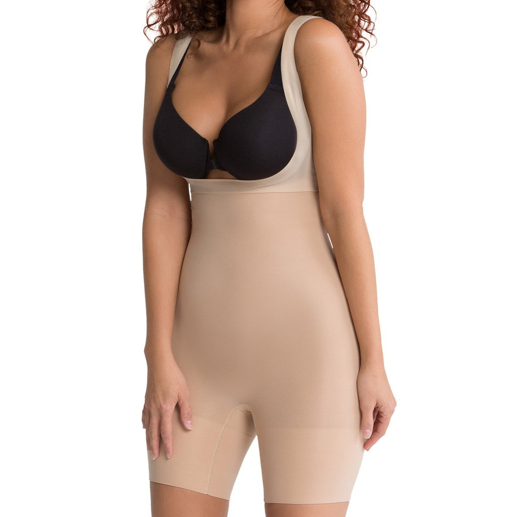 Spanx Shape My Day Open Bust Mid Thigh Body, Natural