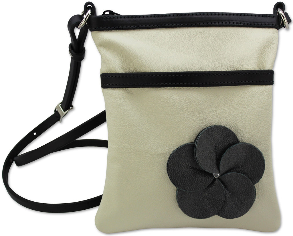 Beige Leather Flower Cross Shoulder Purse