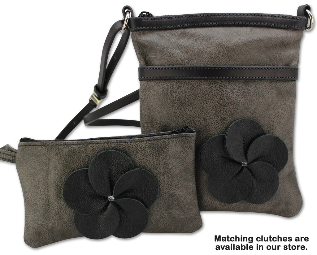 Charcoal Gray Leather Flower Cross Shoulder Purse