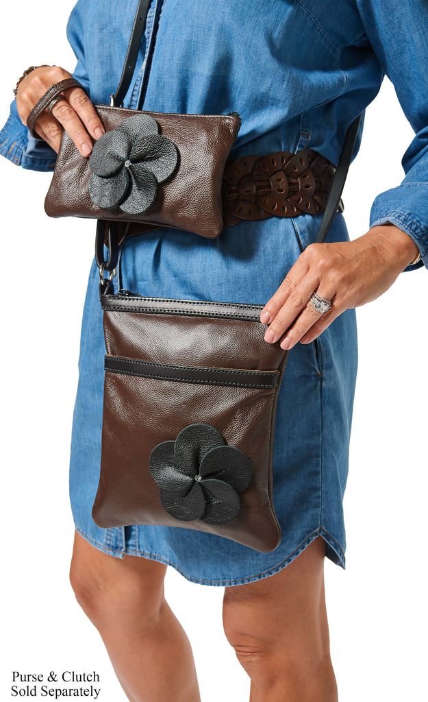 Chocolate Brown Leather Flower Clutch