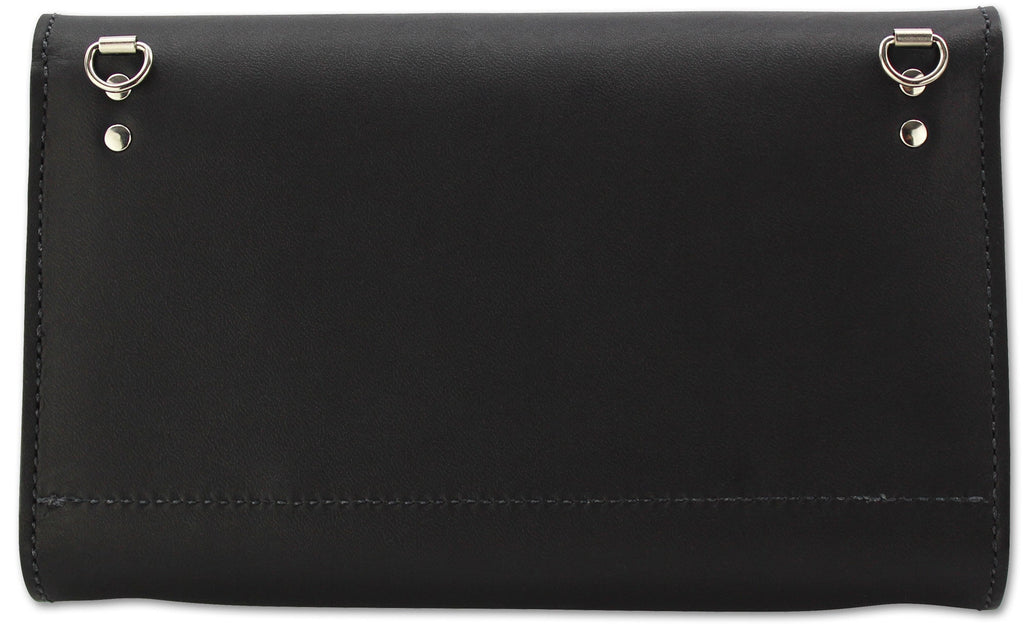 Black Leather Deluxe Cross Shoulder Wallet