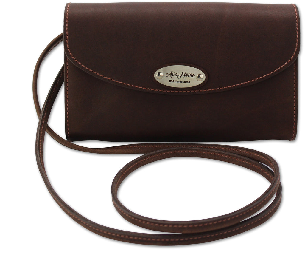 Brown Leather Deluxe Cross Shoulder Wallet