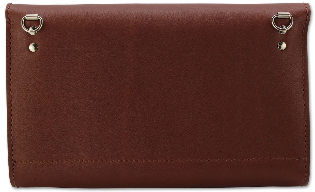 Medium Brown Leather Deluxe Cross Shoulder Wallet