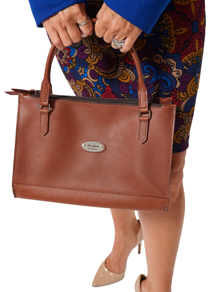 Medium Brown Leather Shoulder Handbag