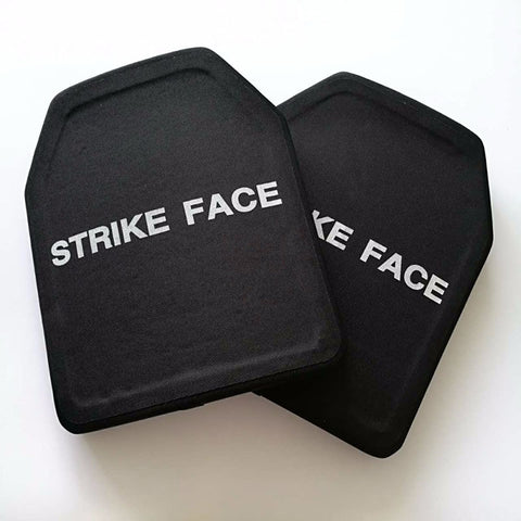 Strike face hard armour plates for body armour vests