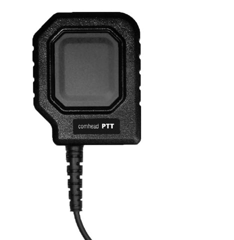 Comhead PTT Motorola M M12 M15 Adapter General:  The extra large PTT button on the front panel ensures a safe and comfortable communication even under severe working and operating conditions (heat, moisture, dust).