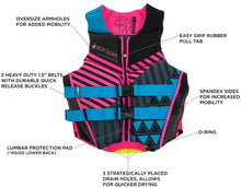 Load image into Gallery viewer, Body Glove 18224W-AQUPNK- XL Women's Phantom Uscga Life Vest, Aqua Pink