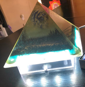 Genuine 5G Orgone Energy Pyramid for Protection & LED Light Stand - Lapis Lazuli Skull Orgonite Pyramid