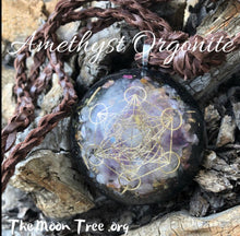 Load image into Gallery viewer, Amethyst Orgonite ™ Pendant with Adjustable Cord • Metatron's Cube Pendant • Powerful Orgone Energy Pendent