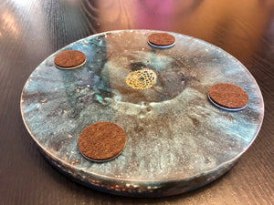 EMF Protection Xtra-Large Orgonite ™ Charging Plate & Chakra Oracle Cards • 5G Protection Orgone Energy Generator • Feng Shui Cure
