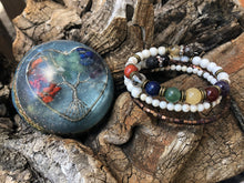 Load image into Gallery viewer, Orgonite Chakra Balance Set ~ Gemstone Bracelet with Orgone Energy Globe: Healing Orgonite Kit