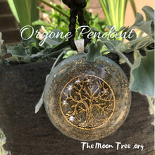 Load image into Gallery viewer, Orgonite Pendant: Gold-Plated Tree of Life Orgone Energy Pendent with Adjustable Braided Suede Cord