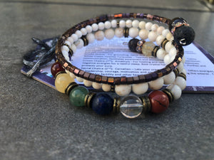 Orgonite Chakra Balance Set ~ Gemstone Bracelet with Orgone Energy Globe: Healing Orgonite Kit