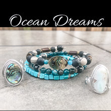 Load image into Gallery viewer, Chakra Jewelry Set: Gemstone Wrap Bracelet • Adjustable Larimar & Abalone Shell Rings