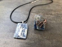 Load image into Gallery viewer, Kyanite Dreams Chakra Jewelry Set • Orgone Energy Pyramid • Adjustable Kyanite Ring & Pendant