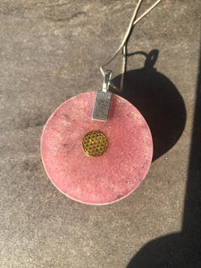 Rose Quartz Orgonite Pendant (with Necklace)