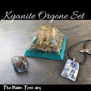 Kyanite Dreams Chakra Jewelry Set • Orgone Energy Pyramid • Adjustable Kyanite Ring & Pendant