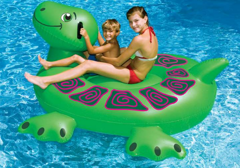 74-Inch Giant Inflatable Turtle - Ride-On - Swimline 90622