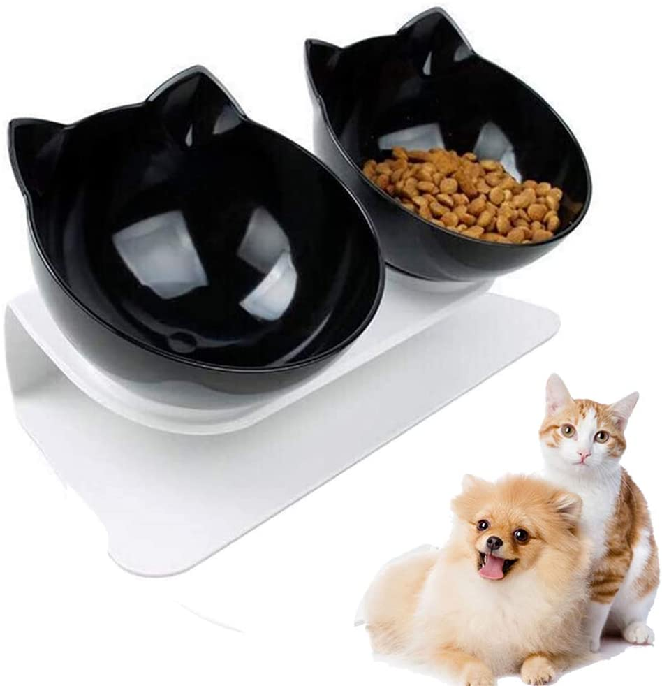 PETSOFTCARE® 15°Tilted Water and Food Bowl Set For Dogs Cats