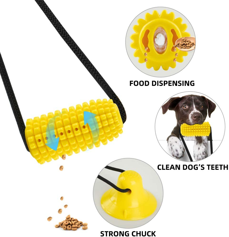 Corn Shaped Dog Suction Toy with Food Dispensing and Teeth Cleaning Feature