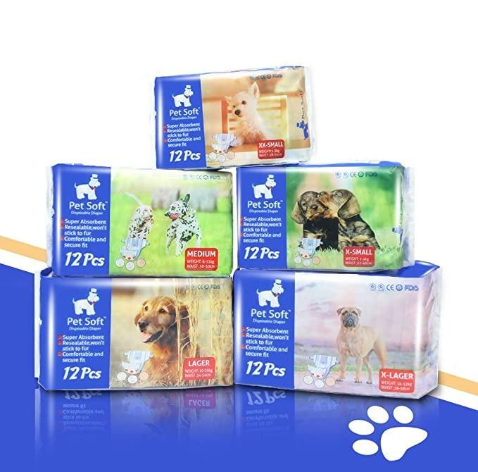 Pet Soft Disposable Diaper For Male and Female Dog-Dog diapers-petsoftcare-Female-12 Count-XXS-petsoftcare