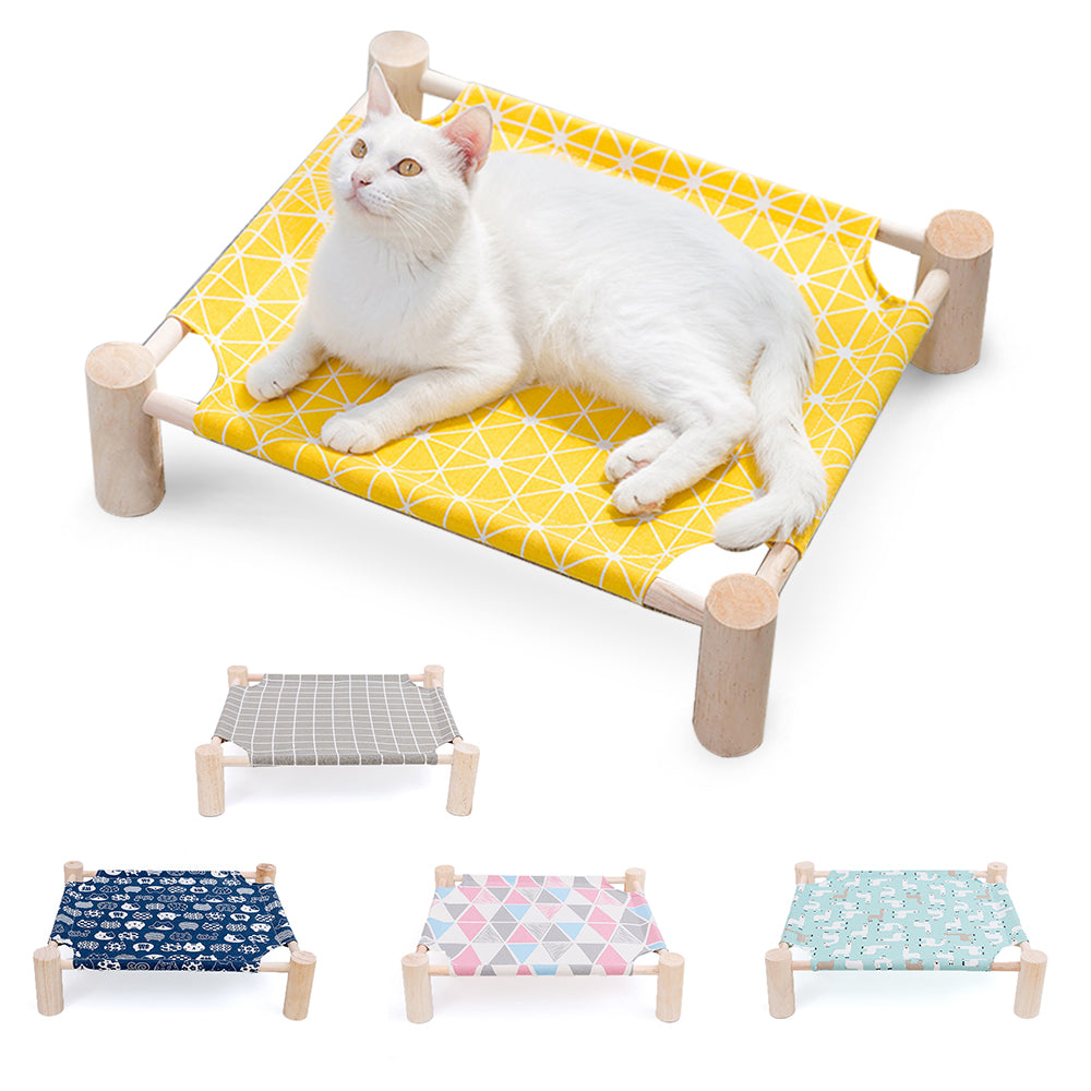 Wood Canvas Cat Lounge Bed for Small Rabbit Cats Dogs