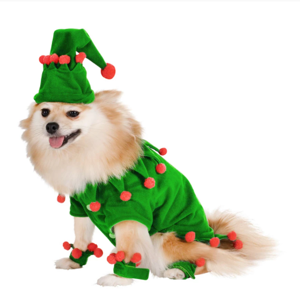 Christmas Dog Cloth Clothes With Christmas Hat