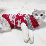 Christmas Cat Dog Sweater Pullover Winter Clothes