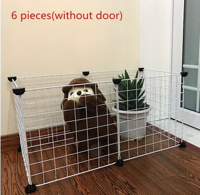 Foldable Fence Gates For Dog Cat Security Guard-Crates, Gates & Containment-petsoftcare-White without door-10 pcs-petsoftcare