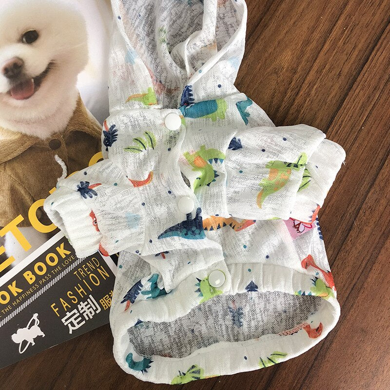 Dinosaur Print Dog Hooded Clothing Sun Protection-Dog apparel-petsoftcare-petsoftcare