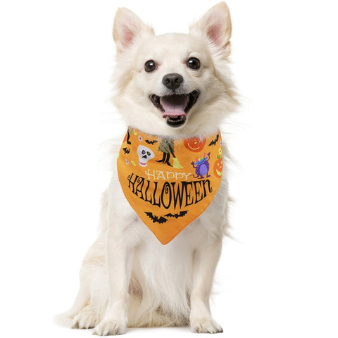 Dog Bibs Scarf Washable Halloween Cartoon Cotton Puppy Kerchief