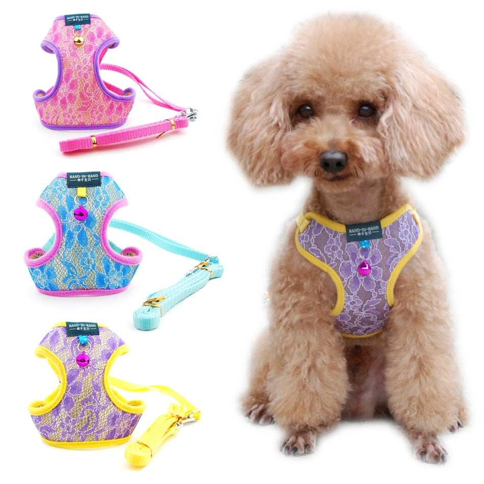 Dog Cat Lace Harness Vest Adjustable with Bell-Collars, Harnesses & Leashes-petsoftcare-petsoftcare
