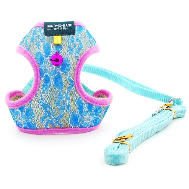 Dog Cat Lace Harness Vest Adjustable with Bell-Collars, Harnesses & Leashes-petsoftcare-Blue Lace Sets-L-petsoftcare