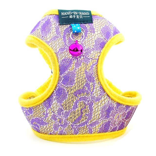 Dog Cat Lace Harness Vest Adjustable with Bell-Collars, Harnesses & Leashes-petsoftcare-Purple Harness-L-petsoftcare