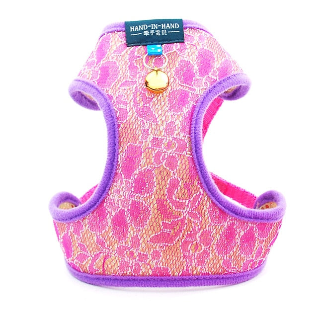 Dog Cat Lace Harness Vest Adjustable with Bell-Collars, Harnesses & Leashes-petsoftcare-Rose Harness-M-petsoftcare