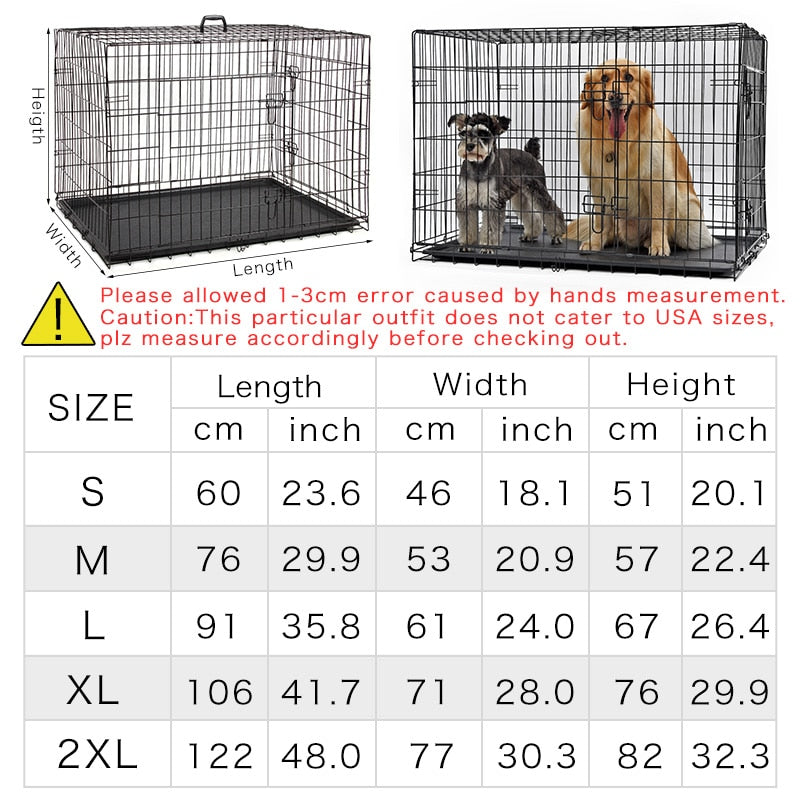 Dog Cage House Solid Crate Double-Door Kennel Collapsible-Crates, Gates & Containment-petsoftcare-petsoftcare