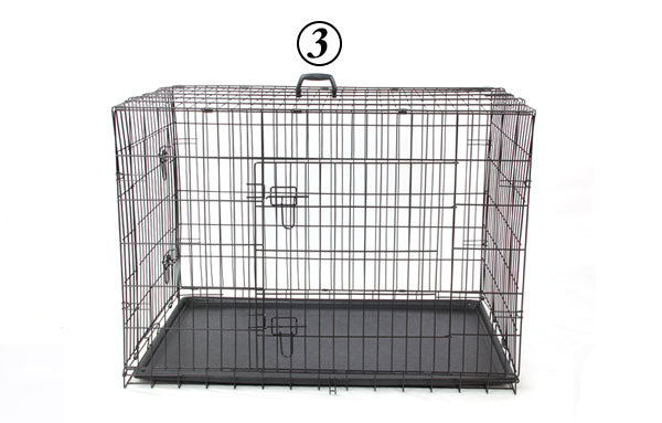 Dog Cage House Solid Crate Double-Door Kennel Collapsible-Crates, Gates & Containment-petsoftcare-Black-L-China-petsoftcare