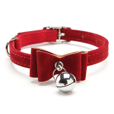 Dog Collar Safety Elastic Bowtie with bell-Cat collars-petsoftcare-Red-S-petsoftcare