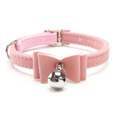 Dog Collar Safety Elastic Bowtie with bell-Cat collars-petsoftcare-Pink-S-petsoftcare
