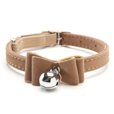 Dog Collar Safety Elastic Bowtie with bell-Cat collars-petsoftcare-Brown-S-petsoftcare