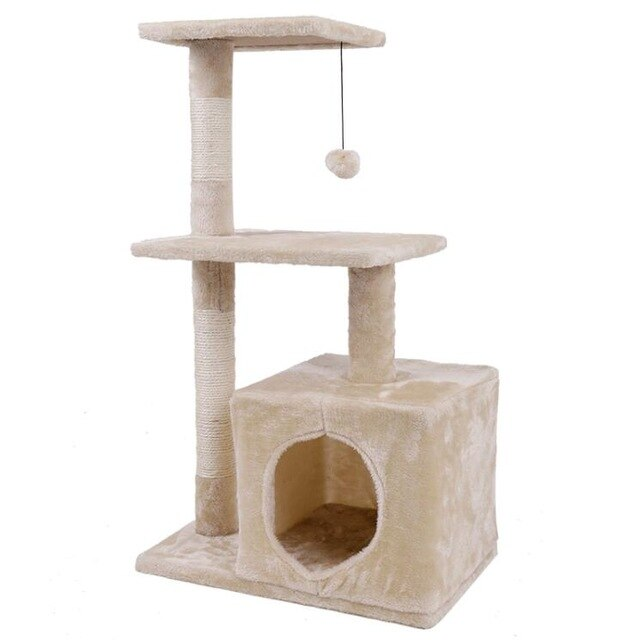 Cat Tree with Sisal-Covered Scratching Posts-Cat Trees & Condons-petsoftcare-AWJ0420Beige-M-France-petsoftcare