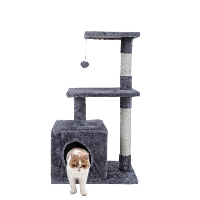 Cat Tree with Sisal-Covered Scratching Posts-Cat Trees & Condons-petsoftcare-AWJ0420gray-M-France-petsoftcare
