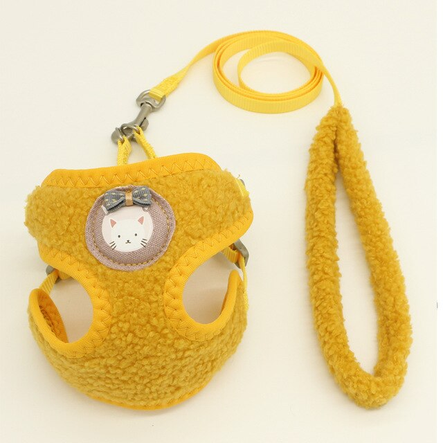 Breathable Dog Harness Leash Vest Adjustable-Collars, Harnesses & Leashes-petsoftcare-Yellow-S-1.0cm-petsoftcare
